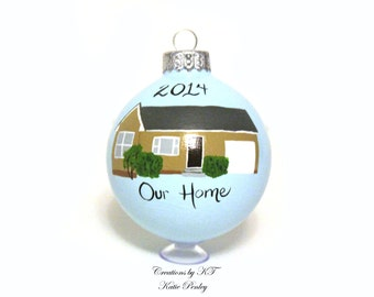 Custom House Ornament Glass Hand Painted Made to Order