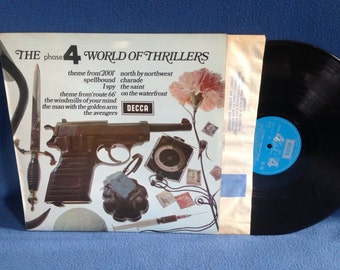 """RARE, Vintage,  """"The Phase 4 World Of Thrillers"""" Vinyl LP, Record Album, 2001 A Space Odyssey, I Spy, The Avengers, Charade, Spellbound"""