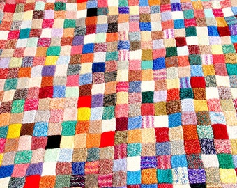 Vintage Knitted Patchwork Blanket
