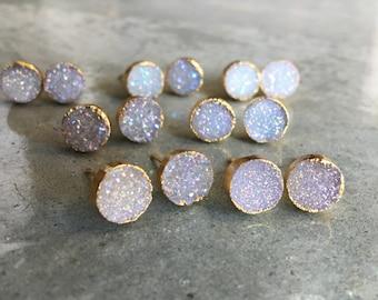 Druzy Earrings, Druzy Stud earrings, bridesmaids jewelry