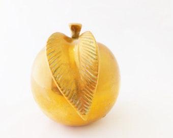 Brass Apple, Large Apple, Paper Weight, Home Decor, Teachers Gift