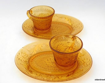 4 Piece Amber Glass, Indiana Glass Tea and Sandwich Set, Two Sets, Amber Glass, Tea Cup, Luncheon Plates