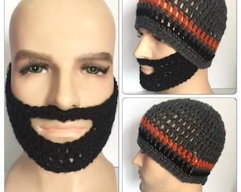 Black Beard hat designer mans mens unisex hand crocheted knit classic beanie hat,Irish boyfriend guy gift face warmer winter ski mask