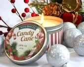 Candy Cane Scented Soy Candle// Christmas Candle// Holiday Gift // Stocking Stuffer