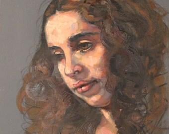 original oil painting 8 x 10 female figure painting, woman, ocean