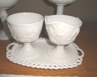 Grape & Leaf Harvest Pattern by Indiana Glass Company 3 piece Sugar Creamer and Underplate Tray