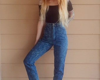 80's floral high waisted mom jeans