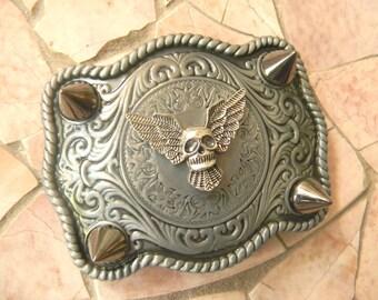 Silver Skull Belt Buckle, Studded Belt Wings, Skull, Spikes And Studs,Silver Spike, Mens Womens Western Belt Buckle,Biker Babe Custom Buckle