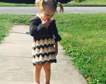 Crochet Hooded Chevron Dress For a Girl