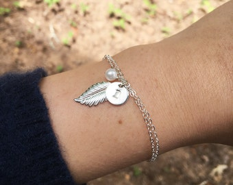 Feather initial bracelet,Monogram jewelry,custom initial,font choice,hand stamped initial,bridesmaid gift,bridal jewelry gift,wedding gift