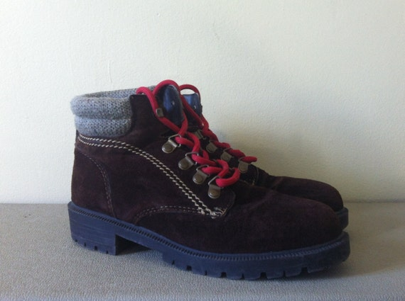 New Vintage Women39s Brown Leather Mountain Hiking Boots  Red Laces