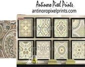 Art Collage Green Ivory Cremes Damask Traditional inspired Art Picture Collection - Set of (9) 8x10 Prints - (UNFRAMED) #472577230