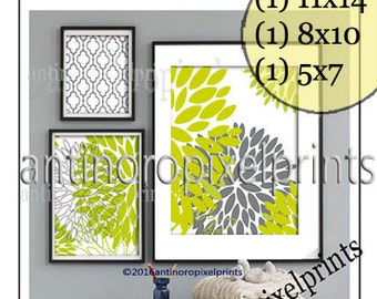Art Flower Collage Gallery G1 Chartreuse Modern Inspired Prints Collection - Set of (3) - Prints 11x14. 8x10, 5x7 - (UNFRAMED) #397936633