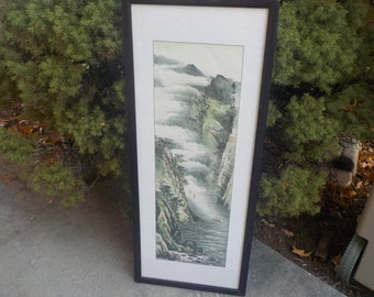 Asian Water Color, Scroll, Lithograph ? Not Sure Mountain Scene with 3 Boats # 1 /NOT INCLUDED In Any Discount or Couon Sales