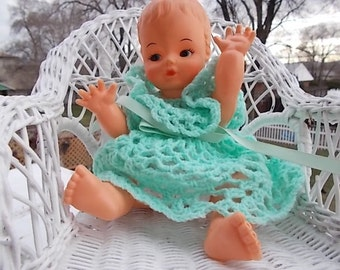 Vintage Sweet Plastic Baby Drink and Wet Doll with Green Crocheted Dress and bloomers / Not included in Discount Coupon Sale /S:)