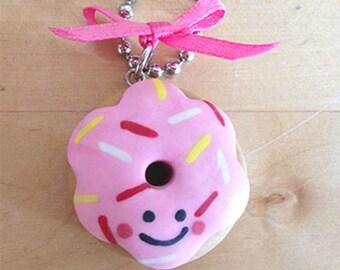 Pink Kawaii Face Donut Necklace