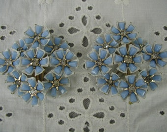 Vintage Earrings, Light Blue Flowers with Rhinestone Centers, 1950's - Mid-Century Earrings, Clip-On