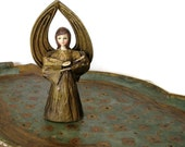 Vintage Paper Mache Angel Figurine, Hand Painted, Gold, Nativity Figure Christmas Holiday Decor