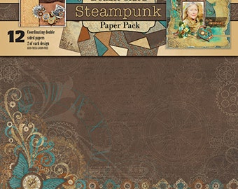 """12 x 12 """"STEAMPUNK"""" Double sided ~ Paper Pack ~ Hot of the Presss ~"""