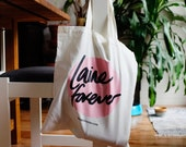 "Cotton canvas tote market bag | ""Laine Forever"" for the yarn lover 