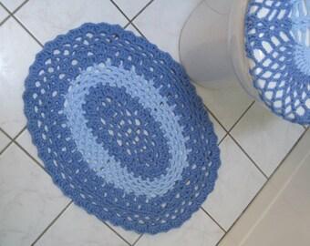 Crochet Bathroom Mat or Rug - Light periwinkle/light blue (CBM1B)
