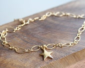 Gold beach anklet, gold star anklet, simple gold anklet, bridal beach anklet, gold ankle bracelet, beach wedding jewelry, woman gold anklet