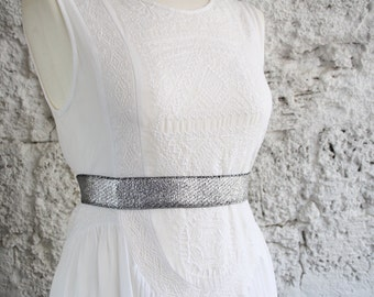 Silver belt, Silver dress belt, Woman dress belt, Elastic waist belt, Metallic belt, Stretch belt, Bridesmaid belt, Woman stretch belt