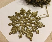 12 large gold glitter snowflake ornaments, 100 mm (R5)