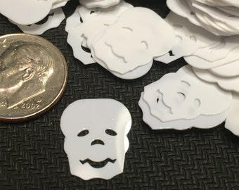 30 white skeleton head sequins / confetti, 12 x 15 mm (22)