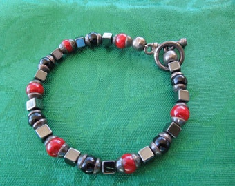 Vintage Bracelet, Red and Black Stones, Hematite, Silver Spacers with Silver Clasp.  Beautiful Piece