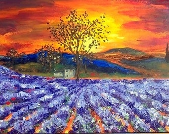 Original Provence Lavender Fields Painting Acrylic Abstract - Sunset Painting Flowes Canvas Palette Knife - Lavender Painting Ready To Hang