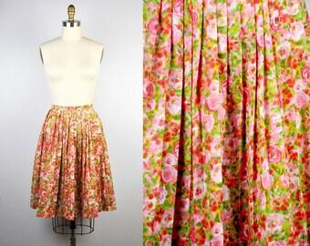 Vintage Floral Skirt Pleated Skirt Full Skirt 50s Skirt Floral Skirt Fitted Waist Skirt Summer Boho Mid Century size S - M