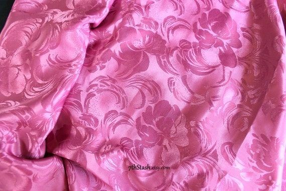 Pink Taffeta Fabric Arabesque Design Glossy Finish