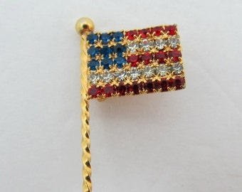 ON SALE Red White & Blue Rhinestone Flag Pin K # 1366
