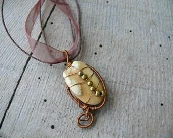 Sea stone pendant, metal beads, sea stone jewelry, wire wrapped pendant, genuine sea stone, beach stone pendant, copper wire