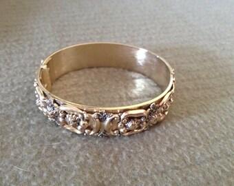 Vintage Goldtone Floral Design Hinged Bracelet, 2.5'' Wide''
