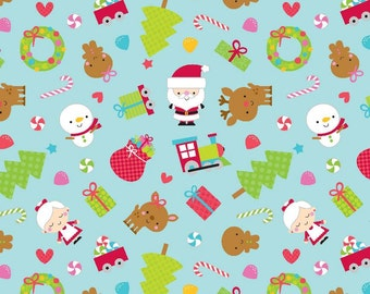 Santa Express Flannel by Doodle Bug Designs for Riley Blake, Main print in blue, 1 yard