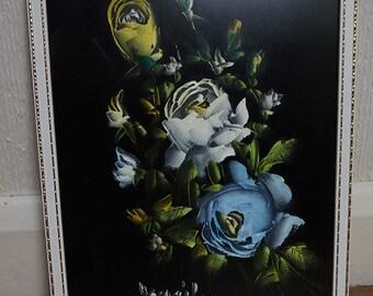 Blue White and Yellow Rose Flower Velvet Art Painting in Frame