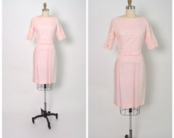 Vintage 1960s 60s Pink Lace Dress