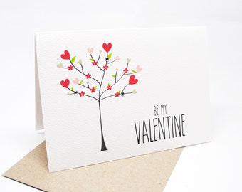 Valentine's Day Card - Love Heart Valentine's Day Tree - HVD013 / Happy Valentine's Day