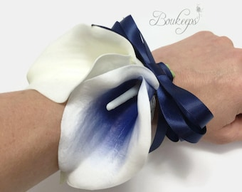 CHOOSE RIBBON COLOR - Navy Blue Calla Lily Corsage, Calla Lily Corsage, Navy Blue Corsage, Picasso Navy Blue Corsage, Mother of the Bride
