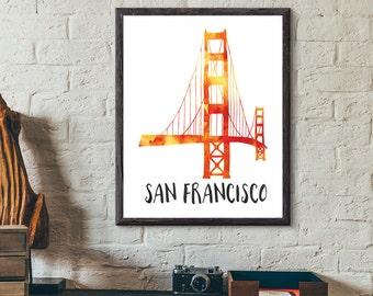 San Francisco, California, USA Watercolor Print - Golden Gate Bridge