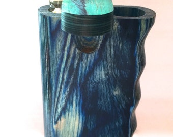 "Handcrafted Ocean Blue Wooden  4"" Dugout with One Hitter Bat"