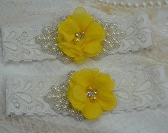 Vintage Bridal Garter, Wedding Garter Set, Lace Garter, Yellow Bridal Garter, Ivory Rhinestones/Pearls Wedding Garter/Bridal Garter Belt