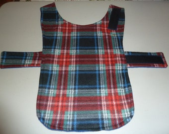 """Extra Small Winter Tartan Plaid Fleece Dog Coat  (16"""" Long) in Red, Black, Green, Blue and White"""