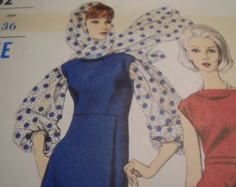 Vintage 1960's Vogue 6662 Young Fashionables Dress and Scarf Sewing Pattern, Size 14, Bust 34