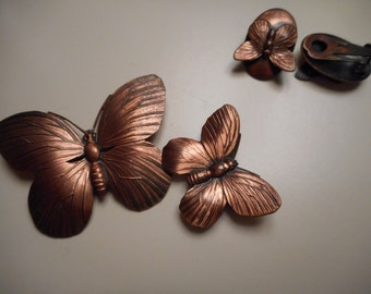 Vintage Mid Century Modern Copper Butterfly Brooches and Clip Earring Set