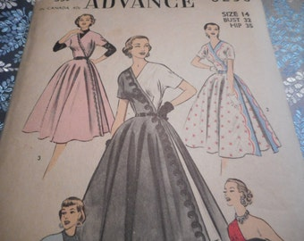 Vintage 1950's Advance 6238 Stunning Half or Contrast Dress Sewing Pattern, Size 14 Bust 32