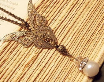 Bronze and Pearl Butterfly Necklace