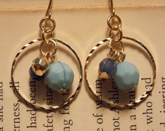 Blue and Gold Beaded Hoop Earrings
